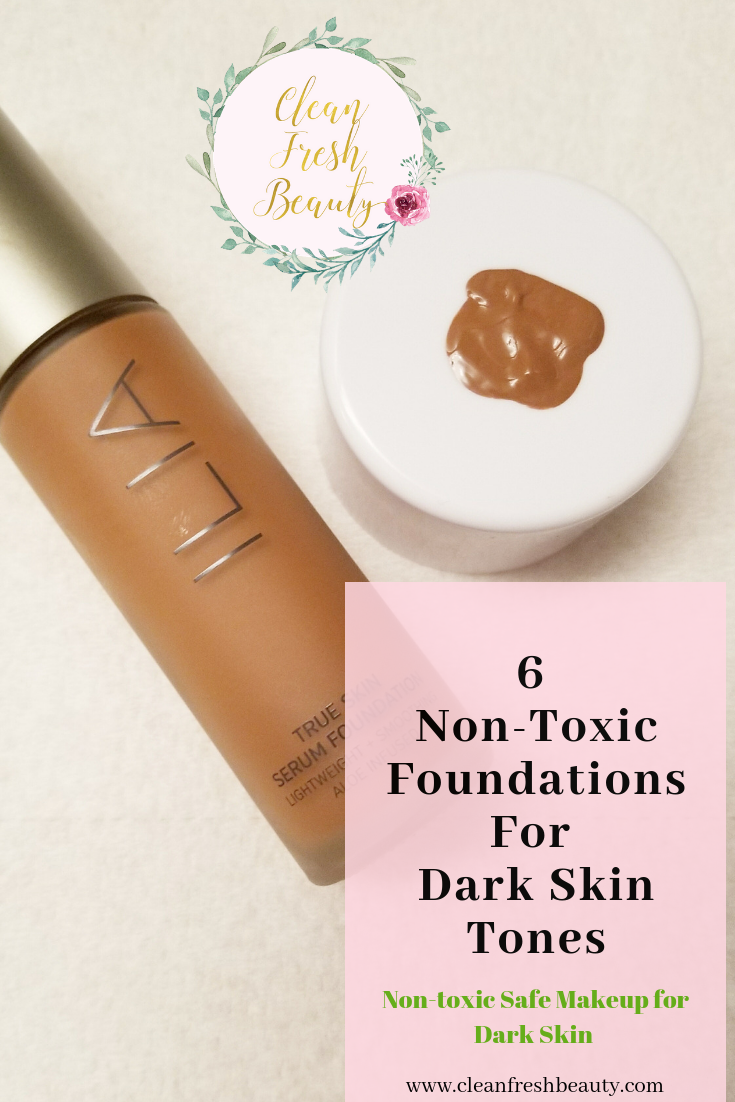For a long time, I couldn't find a non-toxic safe foundation for my dark skin tone. Well now, I am super excited because I was able to find several safe foundations that match perfectly my dark skin tone. Some of this foundation are match for dark deep skin tone too. Click to read all about it and sign up to get tips on organic foundation for #brownbabes, #darkskintones ladies, #black ladies.