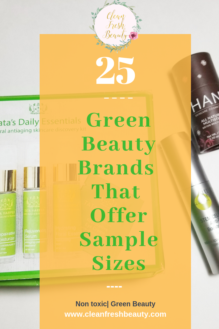 Don't want to commit to a full size products without trying it. In this blog post, I share with you 25 green beauty brands that give samples of their products. You will find samples for skin care products to makeup products. #greenbeauty #organicbeauty #naturalskincare