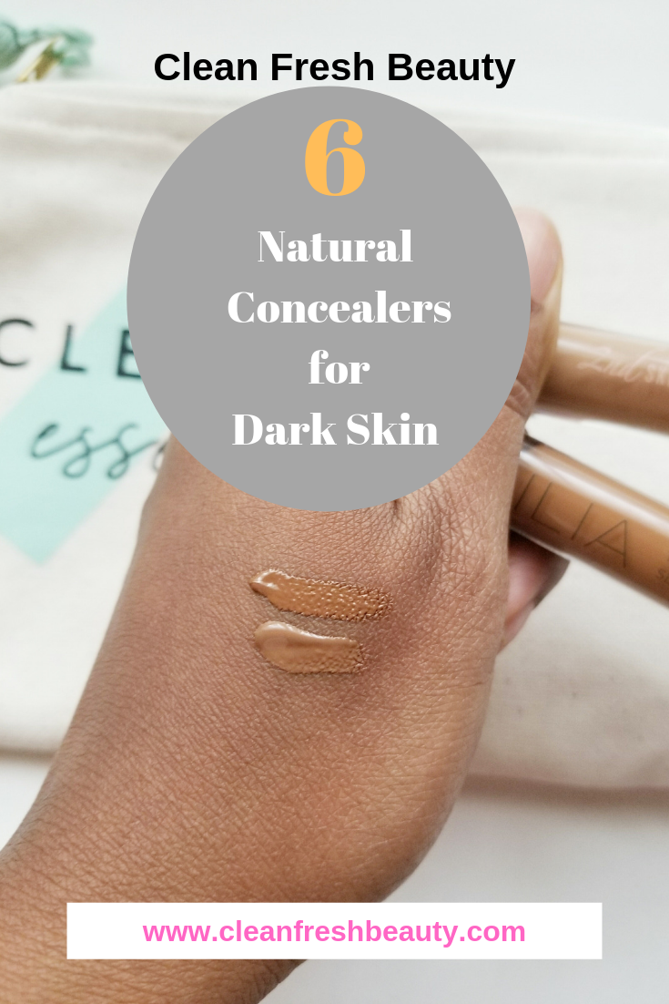 Looking for a natural non-toxic concealers for your deep skin tone? I share with you natural safe concealers that will work for your dark skin tones. click to read more. #organicmakeup #greenbeauty #naturalcosmetics #darkskin
