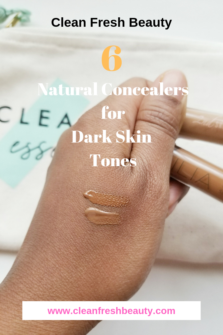 These inclusive organic and natural cosmetics have plenty of natural cosmetics for dark skin. In this blog posts, I share 6 natural concealers you need to know about. Click to read more. #organicmakeup #greenbeauty #naturalcosmetics #darkskin
